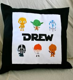 Custom Name Pillow-Star Wars Characters 14x14. $22.00, via Etsy.