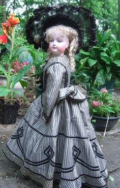 """27"""" F. Gaultier Antique French Fashion Doll - Original Silk Gown from threesistersantiques on Ruby Lane"""