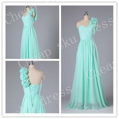 Sexy A-Line Sweetheart One-shoulder Handmade Flower Sweep Train Ruffle Long Bridesmaid /Party Dress /Evening / Prom /Formal Dress 2014