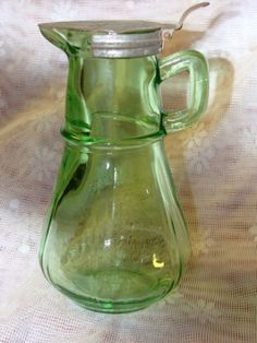 Hazel Atlas Green Depression Glass Syrup Pitcher