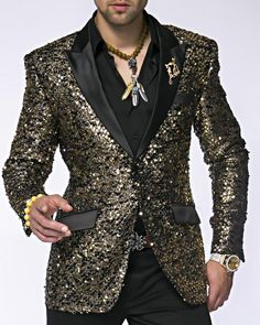 bf58c2846b4d Gold sequins embroidery blazer with black satin peak lapel and flap  pockets. Great outfit for night scene, wedding, party, and any events.