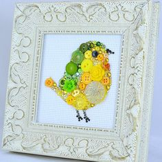 Button Art - Yellow Baby Bird - by PaintedWithButtons