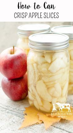 How to Can Crisp Apple Slices is part of How To Can Apple Slices To Keep Them Crispy Reformation Acres - Learn how to can apple slices so that they are still sweet yet full of fresh fruit flavor and best of all are still crisp after canning! Canning Apples, Canning Tips, Home Canning, Pickled Apples, Apple Recipes For Canning, Canning Apple Pie Filling, Pressure Canning Recipes, Chutney, Canning Food Preservation