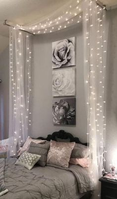 home bedroom ideas ~ home bedroom . home bedroom master . home bedroom cozy . home bedroom small . home bedroom modern . home bedroom ideas . home bedroom romantic . home bedroom indian Cute Room Decor, Room Decor Bedroom, Home Bedroom, Room Lights Decor, Bedroom Fairy Lights, Decorative Lights In Bedroom, Modern Bedroom, Twinkle Lights Bedroom, Romantic Bedroom Lighting