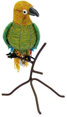 "Amazon.com: Custom & Unique {12 x 7"" Inch} 1 Single, Large Home & Garden ""Standing"" Figurine Decoration Made of Grade A Glass & Galvanized Wire w/ Perched Tropical Macaw Parrot Style {Green, Blue, & Yellow}: Home & Kitchen"