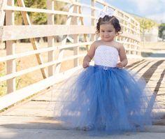 Smoke Blue and White Flower Girl Tutu Dress by krystalhylton