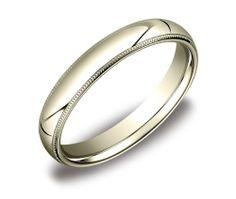 Price: $289.00 Men's 14k Yellow Gold 4mm Comfort Fit Milgrain Wedding Band Ring, Size 11