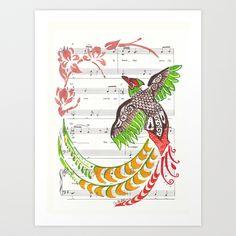"'Pheasant' 9"" x 12"" Acrylic on Sheet Music Art Print by Janin Wise   Society6"