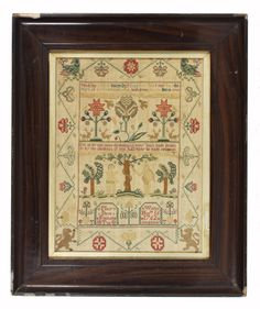 A 1762 Adam and Eve sampler -- wow, this is so similar to Ann Smith 1767 by the Scarlet Letter!!!!!