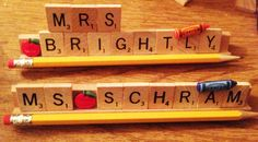 Scrabble Tile Teacher Name Plate Personalized