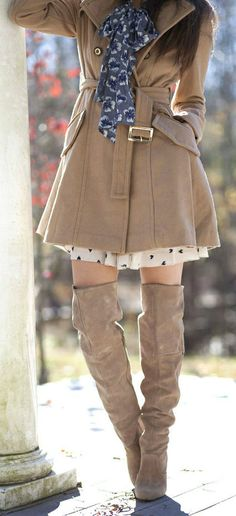 Neutral Coat + Over the Knee Boots