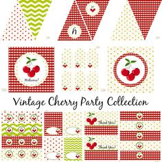 Vintage Cherry Decorations for Girls Birthday Party by BeeAndDaisy, $13.00