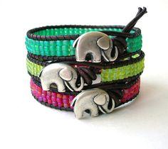Lucky Girl elephant bracelet, colorful Bohemian jewelry, leather friendship bracelet, PICK your COLOR, summer beach boho, good luck