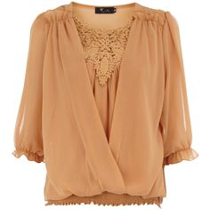 Gold crochet chiffon blouse (43 BRL) ❤ liked on Polyvore featuring tops, blouses, shirts, gold, ruched shirt, beige chiffon blouse, layering shirts, gold shirt and shirt blouse