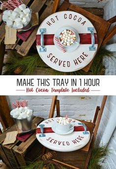 Christmas Tray Tutorial - Hot Cocoa Tray - DIY christmas gift - Make this wooden tray in 1 hour - Christmas DIY decor - Christmas Crafts Christmas Wood, Christmas Signs, Christmas Projects, All Things Christmas, Holiday Crafts, Christmas Holidays, Christmas Decorations, Holiday Ideas, Xmas