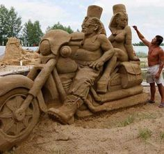 Motorcycle Ride!! Amazing sand art!