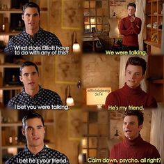 "Kurt and Blaine #Klaine arguing about living together and Blaine's jealously over Kurt's friendship w/ Elliot Starchild in 5x14 ""New, New York"""