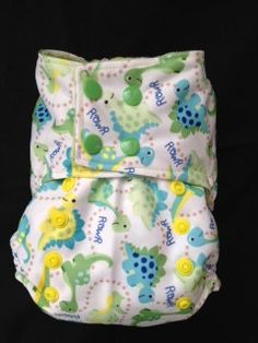OneSize Cloth Diaper Cover Dinos Print by SmushTushDiapers on Etsy, $14.00