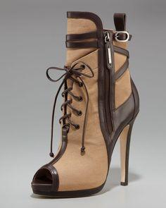 89.00$  Buy now - http://alidzy.worldwells.pw/go.php?t=32583655099 - Khaki Canvas High Heel Short Women Boots Ankle High Lace-up Tie Shoes Back Zipper Peep Toe Stilettos Fashion Sapatos Femininos