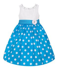 Another great find on #zulily! Turquoise & White Polka Dot Dress - Toddler & Girls by American Princess #zulilyfinds