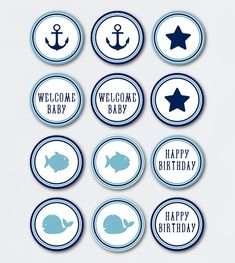 INSTANT DOWNLOAD nautic cupcake topper/ printable pdf / birthday favor tag Baby Shower cards labels theme boy ideas royal blue whale anchor