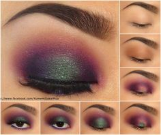 Yumemi Sakai MUA  Pictorial for one of my most requested looks! 1.) Primer 2.) Apply a blending color (Naked by UD) in the crease 3. Apply Poison Plum by Sugarpill to the inner and outer corner of the lid and connecting them in the crease 4.) Apply Junebug by Sugarpill wet 5.) Blend Junebug out and apply highlight to the brow bone 6.) Apply Velocity, Poison Plum on the lower lashline and white pencil liner in the waterline 7.) Mascara, Liner, and Lashes! Sugarpill Cosmetics ♥