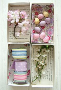 Easter - shoe boxes that are lined with scrap book paper and/or fabric. Fill or hot glue decorative items. Easy and so, so cute!!!