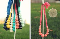Bubble necklace on t-shirt yarn - easy DIY