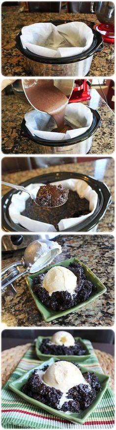 Crock Pot Chocolate Lava Cake.  Look further down this page for a better recipe.  This one turned out soupy--was OK over ice cream though.  I don't know if it was the parchment paper?