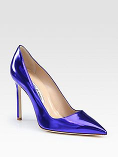 Manolo+Blahnik BB+Metallic+Leather+Pumps