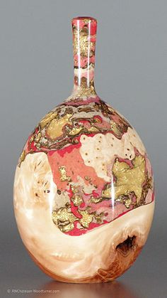 Absolutely gorgeous, one-of-a-kind yellow birch burl vessel with resin inlay created by Robert Chatelain