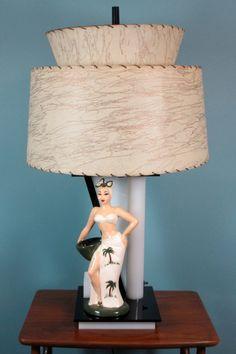 1940's Moss Lamp with Hedi Schoop figurine
