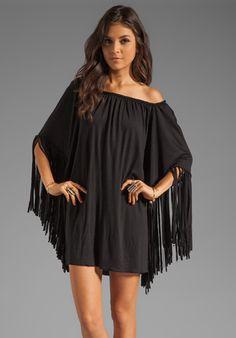 INDAH Adara Fringe Sleeve Hippie Tunic in Black at Revolve Clothing - Free Shipping!