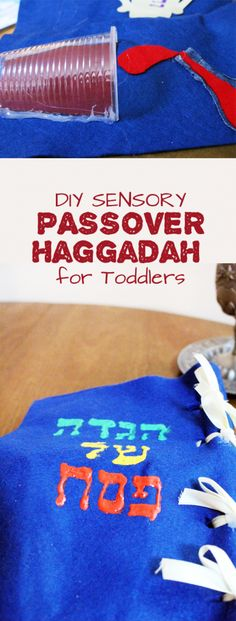 Make a fun DIY Sensory Haggadah for toddlers - a great Passover or Pesach craft to help involve young children in the Seder!