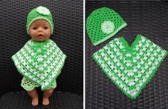 Poncho en muts voor Baby Born pop ( met gratis patronen) / Poncho and cap for Baby Born doll (with free patterns)