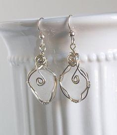 Sea glass earrings white sea glass earrings by Jewelrybeyondthesea