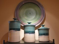 Ceramics----  sunset canyon pottery canisters!!!! from dripping springs tx