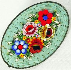 Micro Mosaic Pin with Raised Floral Pattern $129.00
