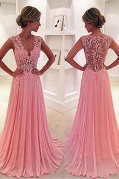 Prom Dress Beautiful, A-Line V-Neck Sweep Train Side-Zipper Pink Chiffon Prom Dress with Appliques, Discover your dream prom dress. Our collection features affordable prom dresses, chiffon prom gowns, sexy formal gowns and more. Find your 2020 prom dress V Neck Prom Dresses, A Line Prom Dresses, Homecoming Dresses, Formal Dresses, Party Dresses, Dress Prom, Dress Lace, Long Dresses, Wedding Dresses
