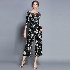 394f5b40de New Brand 2018 Autumn Fashion Floral Print Lace V-neck High Quality Women  Casual Jumpsuit Hot Sale