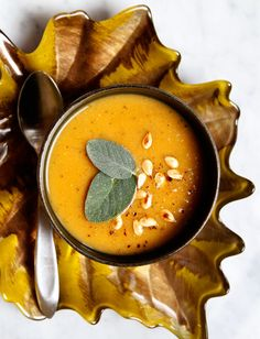 Autumn sage apple squash soup recipe: This healthy vegetarian soup is the perfect starter dish to a larger meal or can be enjoyed as a meal by itself. Easily prepared in under 20 minutes, this soup is one you'll want to make over and over again. Enjoy!