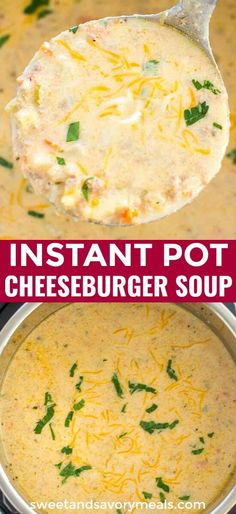 New Instant Pot Cheeseburger Soup is creamy, hearty and incredibly tasty, made without Velveeta. New Instant Pot Cheeseburger Soup is creamy, hearty and incredibly tasty, made without Velveeta. Instant Pot Pressure Cooker, Pressure Cooker Recipes, Pressure Cooking, Slow Cooker, Crockpot Recipes, Cooking Recipes, Tasty Soup Recipes, Instapot Soup Recipes, Velveeta Recipes