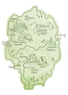 Coyote Atelier illustration inspiration: Yosemite National Park Map illustration by Lisa Siemonsma