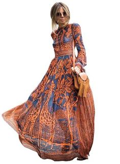 Chiffon Floral Long Sleeve Maxi Casual Dresses (1029274) @ floryday.com