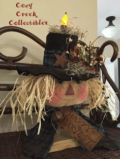 """""""Primitive Happy Harvest"""" Scarecrow Make-Do! Love the way the candle looks , adds such a nice warm glow :-) https://www.etsy.com/shop/CozyCreekPrimitives https://www.facebook.com/groups/cozycreekprimitives/"""
