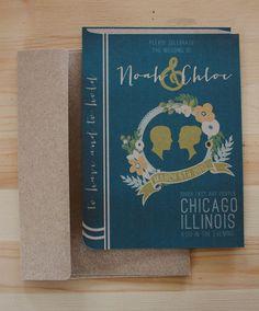 Library book wedding invitation set.