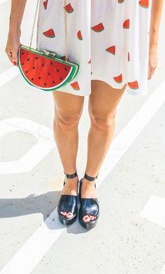White Sweet Watermelon Print Shirt Dress - Choies.com