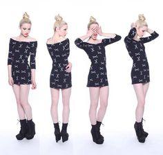Lip Service - Fashion Victim - Crossbone Print Off Shoulder Black Mini Dress