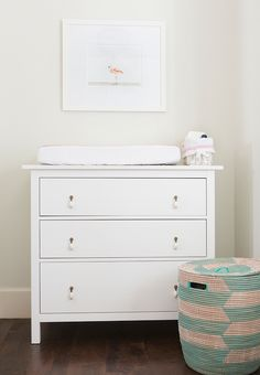 Nursery with Ikea Hemnes 3 Drawer Chest, Transitional, Nursery