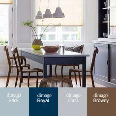 #Trendkleur combinatie #2015. Met verfkleuren van dimago New Traditionals. Deze vergrijsde matte kleuren passen perfect bij de #woontrends van nu.